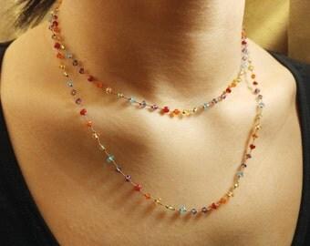 long multi-gemstone Necklace