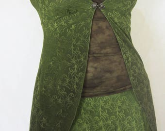 Hand dyed Leafy Lace Fairy Goddess jacket in ombre leaf green