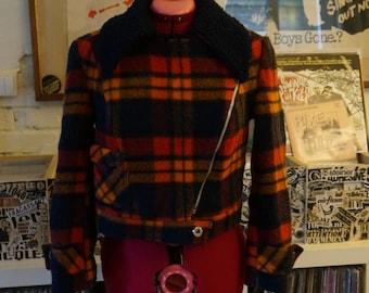 vintage 70s plaid wool motorcycle jacket faux fur collar cropped 1970s