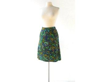 Vintage 60s Skirt | Paisley Skirt | A Line Skirt | 25W XS