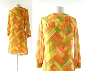 60s Mod Dress | Aerial Survey | 1960s Dress | Vicky Vaughn | Medium M