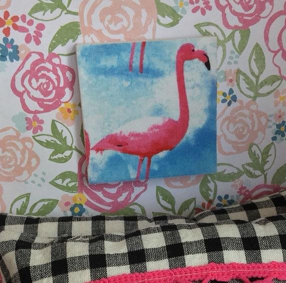 "Pink Flamingo canvas picture 3"" x 3"""