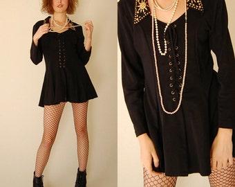 Corset Jacket Vintage Black Stretchy Studded Collar Lace Up Corset Draped Jacket  (s m)
