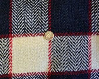 WL002 ~ Wool fabric Plaid wool Dark navy Creamy white Red Heavyweight Vintage