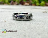 Mo Chridhe Ring, Celtic Ring, My Heart Ring, Hand Stamped Stainless Steel Decorative Edge, Celtic Jewelry, Gaelic Ring, Scottish Jewelry