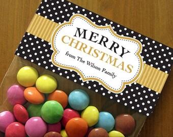Personalized Christmas Treat Bag Toppers – DIY Printable – Festive Label Black & Gold (Digital File)