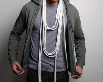 Light Gray Scarf, Gray Scarf, Mens Necklace, Womens, Mens, Jersey Cotton, Long