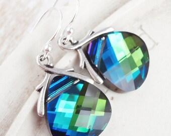 Swarovski Crystal Earrings - Teardrop Briolette - Blue Teal Sterling Silver