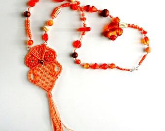 Orange Macrame Owl Pendant Necklace - Owl Necklace - Macrame Jewelry - Micro Macrame - Bird Necklace - Boho Necklace