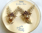 Faux Pearl and Purple Rhinestone Ear Climber Earrings Vintage NOS Sarah Coventry in Original Case
