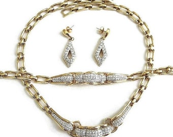 Vintage Clear ICE Pave Rhinestone BIB Necklace, Bracelet, and Earrings Demi Parure Set