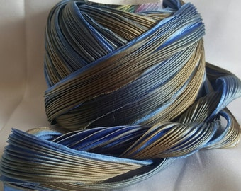 1/2 yd Shibori Ribbon Hand Dyed Silk Ribbon Oil on Water Shibori Girl