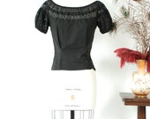 Vintage 1950s Blouse - Spring 2017 Lookbook - The Zora Blouse - Iconic Black Cotton Peasant Top with Lace Neckline and Cap Sleeves