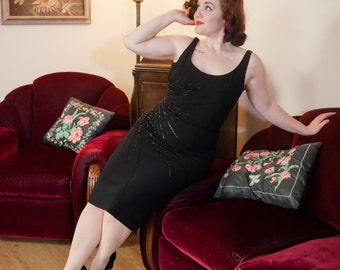Vintage 1950s Dress - Bombshell Beaded and Sequined Black Rayon 50s Wiggle Cocktail Dress with Deep Plunging Back