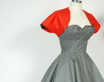 Vintage 1950s Set - Wonderful Polished Cotton Halter Dress in Printed Grey with Reversible Red Bolero - Robinette