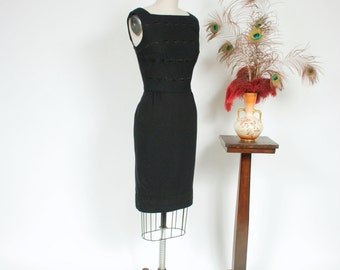 Vintage 1950s Dress - Bombshell Black Wool 50s Wiggle Dress with Intricate Embroidered Stripes
