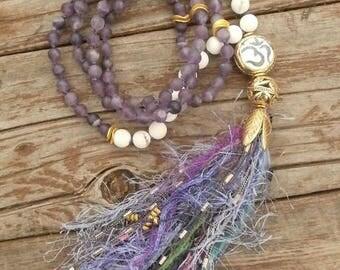 Shabby Boho Tassel Necklace, 108 Bead Mala Necklace, White Turquoise & Purple Amethyst, Perfectly Twisted Handmade Jewelry, Boho Mala, OM