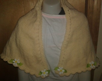 Hand knit Child wrapped Shawl with flowers around edge, fits ages 5-8