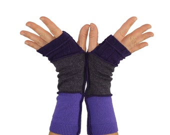 Arm Warmers in Sunset Purple - Purple Mauve Lilac - Segmented Sleeves - Recycled Sweaters
