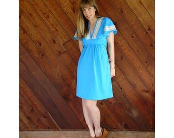 Alice Blue Crochet Insert Mini Babydoll Dress - Vintage 70s - S