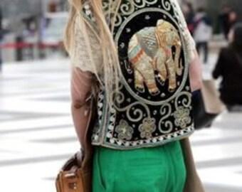 Embellished Vest 1970s Boho Hippie Elephant Sequins Vest Thailand Art Jacket Size Med./LG