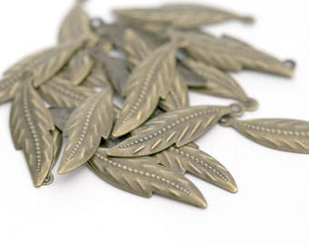Antiqued Bronze Lead Free Leaf Pendant Charms Findings 31mm (20)