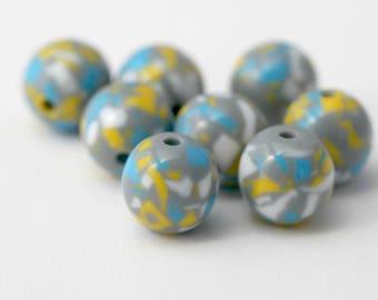 Round Gray Yellow White Blue Confetti Resin Beads 16mm (10)