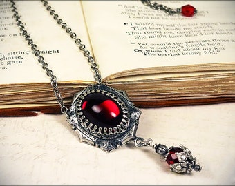 Garnet Medieval Necklace, Red Pendant,  Renaissance Jewelry, Tudor Costume, Victorian, SCA Garb, Bridesmaid Necklace, Ren Faire, Wedding
