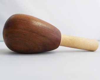 Gorgeous Hand Turned Claro Walnut Maple Wood Darning Egg for Socks and Handknits Signed by Artisan Jim Hokett