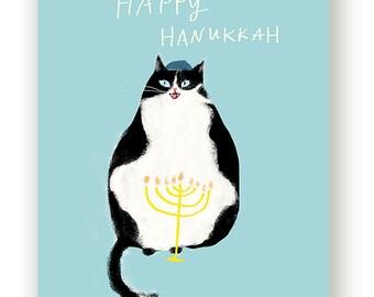 Happy Hanukkah Card - Hanukkah Cat Card - Black & White Cat