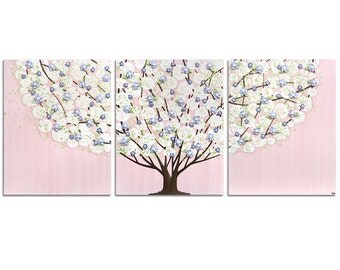 Wall Art Tree for Girl's Room - Pink, Purple, Green Canvas Painting Triptych with Sculpted Flowers  - Large 50x20