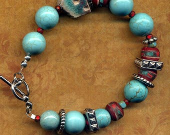 Turquoise Magnesite Chunky Bracelet, Teal House Turquoise and Red Bracelet, One of a Kind Tibetan Bead Bracelet Home Sweet Home Bracelet