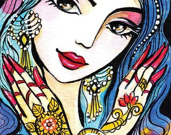 Indian bride art Indian woman painting Indian decor affordable art gifts artart giclee, feminine decor, beauty painting print 8x11+