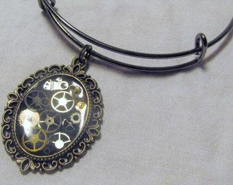 Steampunk Gear Bracelet Bangle Bracelet Vintage Watch Parts Resin Charm Bracelet One Of A Kind Unique Jewelry