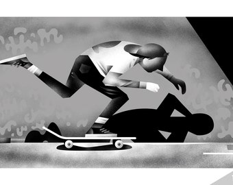 PUSH - Skateboard print - 80s - Archival Digital Print - 11x17 or 16x20