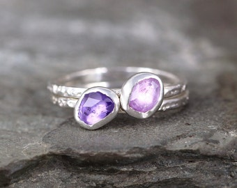 Pink & Purple Rose Cut Sapphire Stacking Ring Set- Free Form Gemstone Rings -Sterling Silver - September Birthstone Ring - Orchid Color Gems