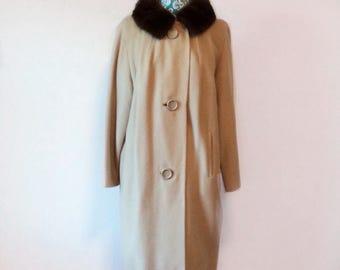 vintage 1960's cashmere coat // mink fur collar // huge buttons 60's taupe coat