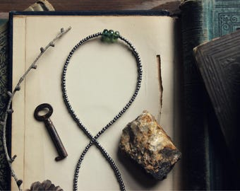 Mojo | The Fen. Rustic Bohemian Layering Beaded Choker Style Seed Bead and Apatite Necklace.