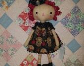 Primitive Sugar skulls themed raggedy cloth doll, Halloween Decor, Day of the Dead, Handmade doll