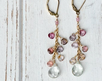 Green Amethyst and Spinel drops