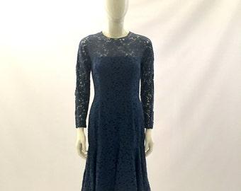 Vintage Dress 1960s Dress Blue Dress Lace Dress Blue Lace Dress Formal Dress Church Dress Bridesmaids Dress