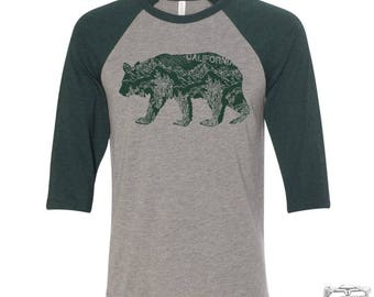 Unisex California BEAR Three-Quarter Sleeve Baseball T-Shirt s m l xl xxl (+ Color Options)