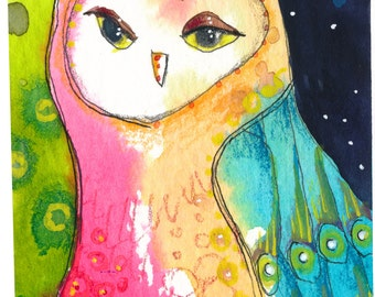 Colorful Watercolor Owl Greeting Card, Archival Art Prints