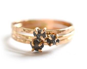 Rough Black Diamond Ring, Size 8, April Birthstone