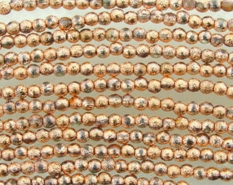 4mm Metallic Copper Etched Czech Glass Round Beads - Qty 50 (BW157)