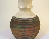 """Raku fired pottery vase with white crackle and copper matte glaze  (8-3/4"""" tall x 6"""" wide) ceramic"""