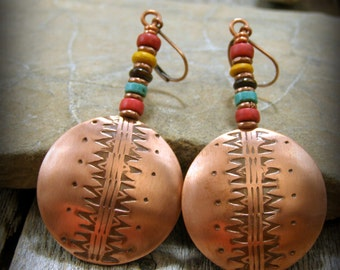 bohemian earrings, native american, metal smith earrings, boho jewelry, copper earrings, beaded earrings, southwest earrings, hoop earrings