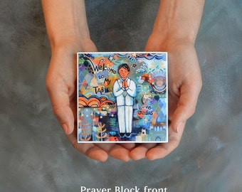 First Communion prayer block for a Boy, gift for first communion, customize name on back
