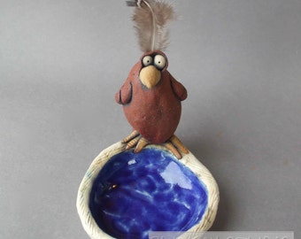 Goofy Red Bird on Nest Scuptural Ceramic Dish