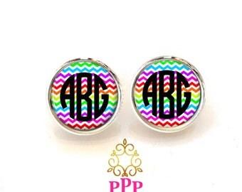 Monogram Earrings Rainbow Chevron (401)